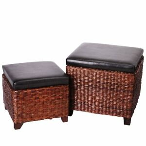 Image Is Loading Brown Faux Leather Rattan Storage Ottoman Cube Foot