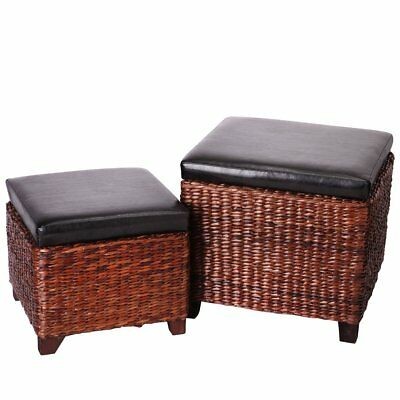 Astonishing Brown Faux Leather Rattan Storage Ottoman Cube Foot Rest Foam Seat Stool 2Pc New 648865020537 Ebay Creativecarmelina Interior Chair Design Creativecarmelinacom