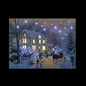 Flower Led Canvas Illuminated Christmas Tree in Snow Canvas Picture 40 x 30cm