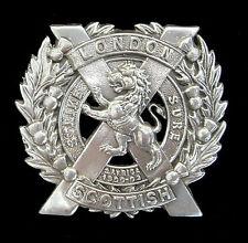 WW1 THE 14TH LONDON SCOTTISH CAP BADGE SOLID SILVER