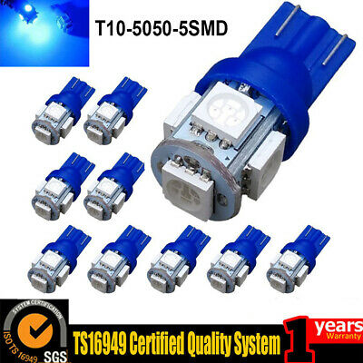 10PCS Dashboard Tail 12v Side 6000K T10 5050 W5W 5SMD 158 168 194 LED Bulbs