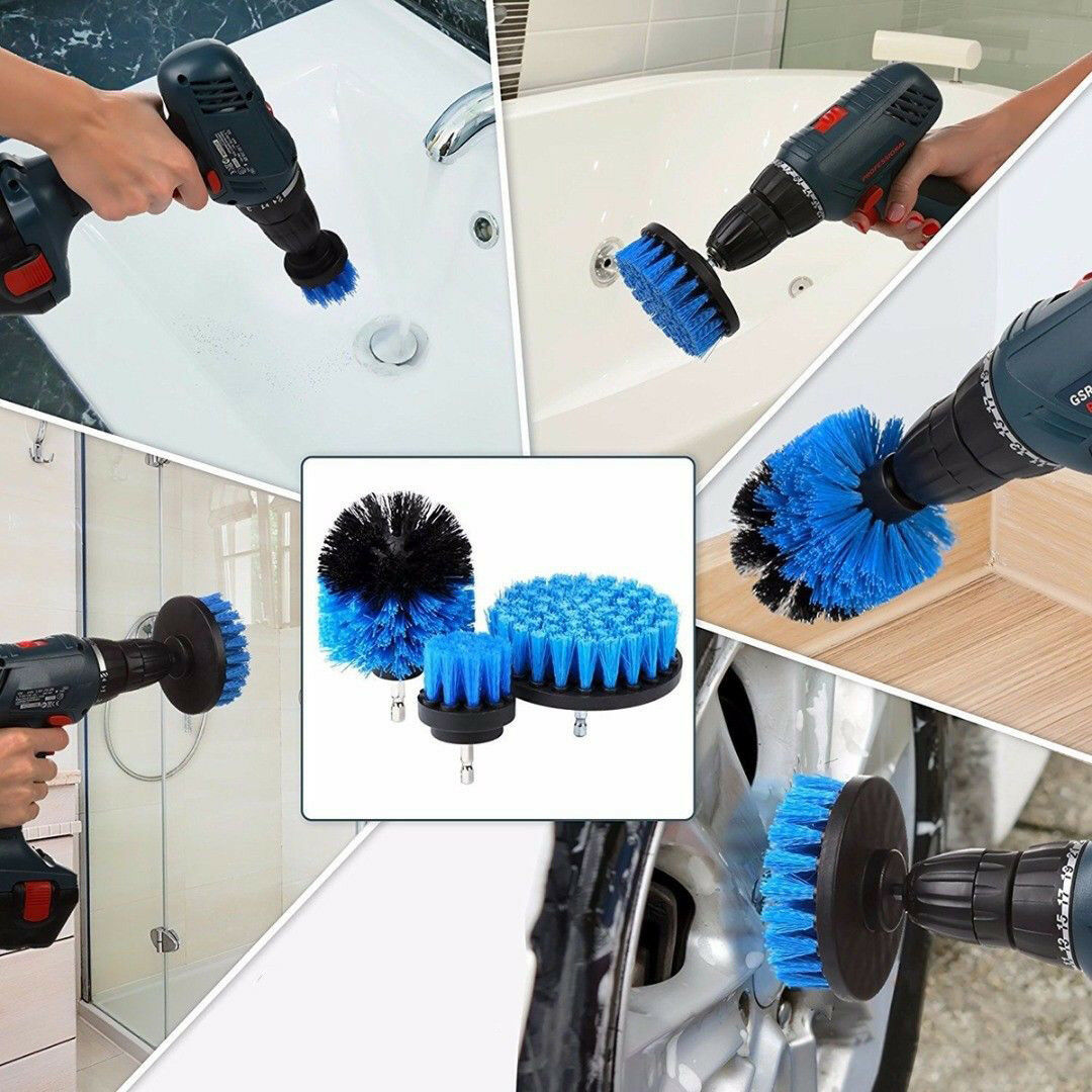 Drill Scrub Brushes Cleaning Extended Long Attachment Set