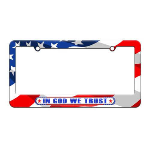 In God We Trust USA American Pride License Plate Frame American Flag Design
