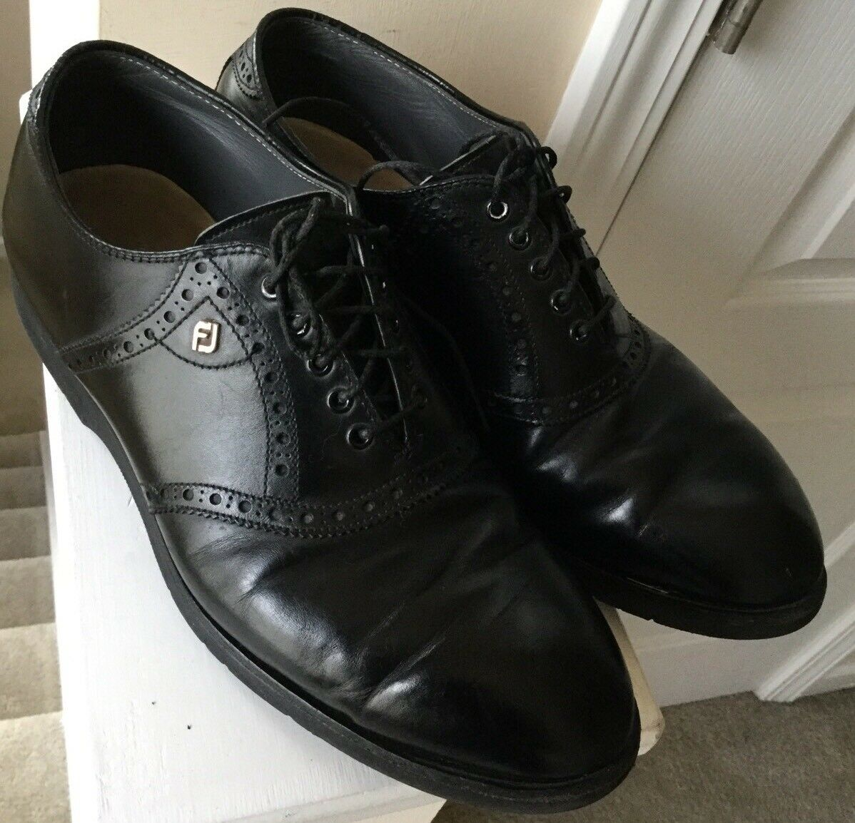 Footjoy Golf Oxford Loafers Black Mens Size 8 D Black Loafers Leather Shoes Oxfords Casual 29989c