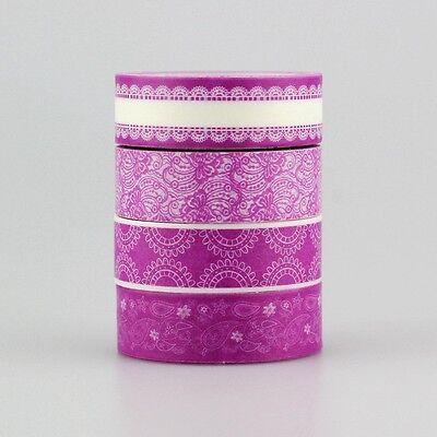 NEW! 4pcs/lot decorative Cute Purple Color Scrapbooking Washi Tape Set,15mm*10m