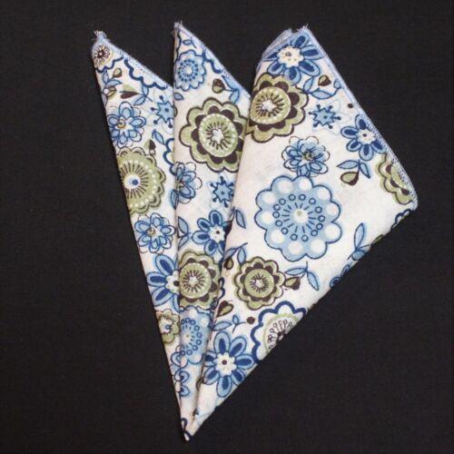 Mouchoir De Poche Carré Coton Mouchoir Blanc Avec Bleu /& Vert Floral CH076