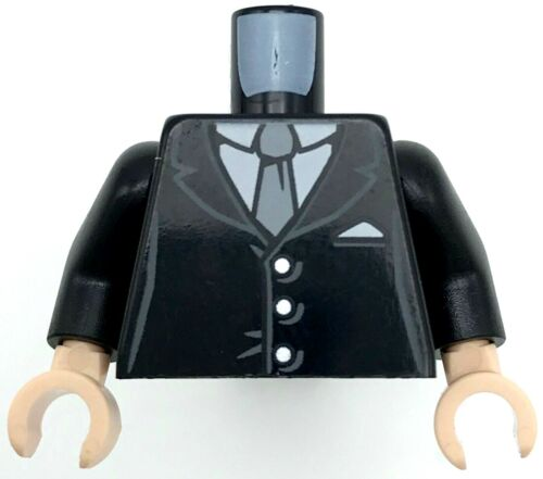 Lego New Black Minifigure Torso Suit with 3 Buttons Gray Tie Pattern Black Arms