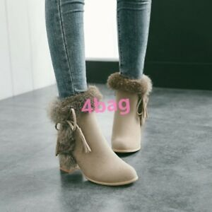 Women-039-s-Fur-Decor-Ankle-Boots-Faux-Suede-Block-Heel-Side-Zip-Party-Shoes-Fashion