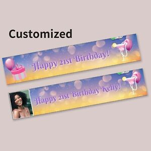 Personalise 21st Party Banner Balloons Martini Happy Birthday Present Decoration
