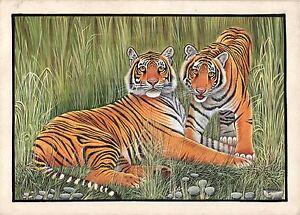 Bengala-Tigers-Pittura-Mano-Indiano-Miniatura-Animale-Selvatico-Acquarello-Art