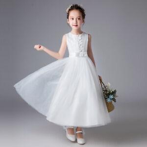 Detalles De Niña Encaje Blanco Vestido Dama De Honor 7 8 9 10 11 12 13 Años