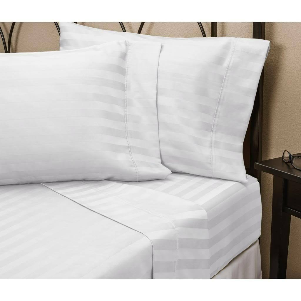 1000 Thread Count 100% Egyptian Cotton 1000 TC Sheet Set TWIN XL White Stripe