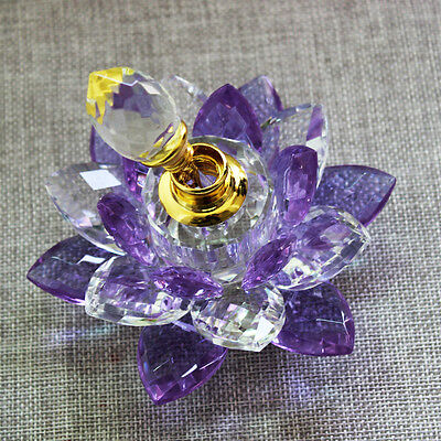 100mm Purple Quartz Crystal Glass Lotus Flower Perfume Bottle With
