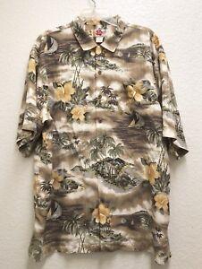 Hilo-Hattie-Men-039-s-XL-Shirt-Hawaiian-100-Silk-Floral-Hibiscus-Brown-Aloha-EXC