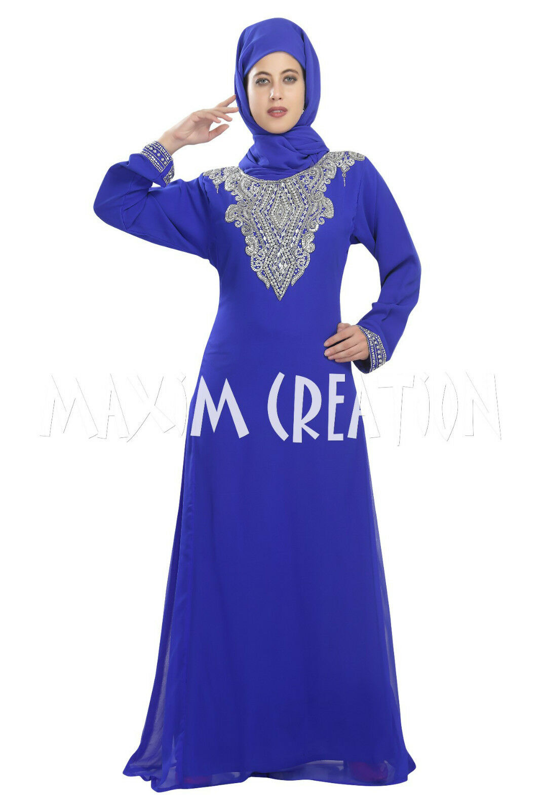 Maghribi Mgoldccan Fancy Embroidery Dubai Caftan Kaftan By Maxim Creation 5350