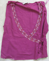 Bhs Violet Hand Embellished Linen Blend Party Top Blouse (new)-size 20 (eur 48)