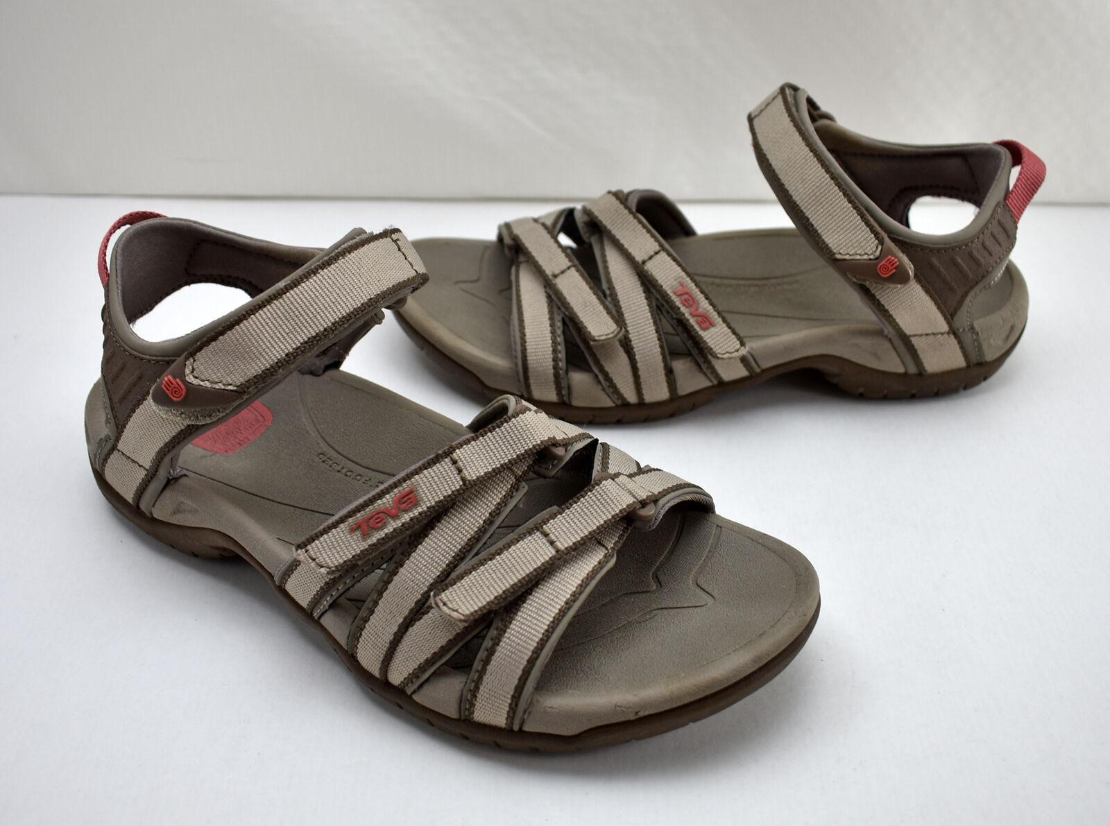 Teva Tirra 4266 Taupe Open Toe Hook & Loop Ankle Strap Sport Sandals - Women's 6