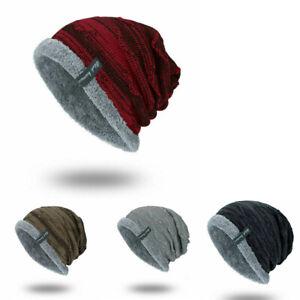 Men-Striped-Ribbed-Slouchy-Knit-Beanie-Winter-Hat-Warm-Work-Cap-Soft-Toboggan