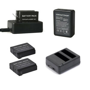 1160mAh-AHDBT-401-battery-DUAL-Charger-For-Gopro-Hero-4-HD-Black-Silver-Edition