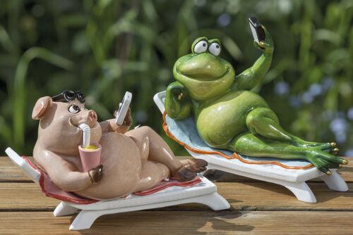 Schwein mit Handy witzig 1006052 Frosch Gartenfigur Gartendeko Figur
