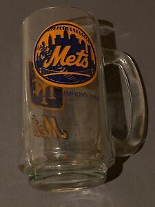 Lot-of-2-1969-world-champion-mets-Glass-mugs-Steins-Vintage