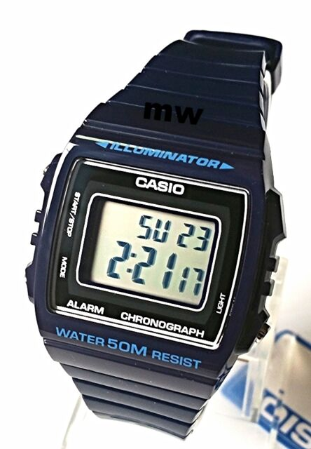 CASIO W215H-2A DIGITAL SPORTS Men Ladies Teens Quartz Watch 50M Alarm Blue Resin