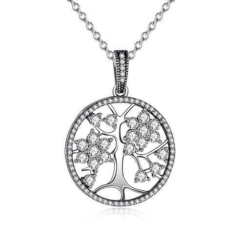 Damen Halskette Lebensbaum Anhänger Tree of Life 925 Sterling Silber Zirkonia