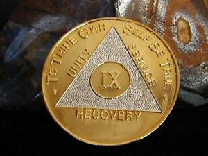 Vintage Gold & Silver Bi Plated Alcoholics Anonymous 9 Year Medallion Coin Chip