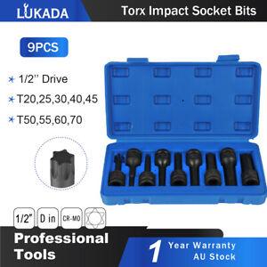 9pcs 1/2'' Torx Star Drive Deep Air Impact Metric Sockets Set Bits Lukada Tool