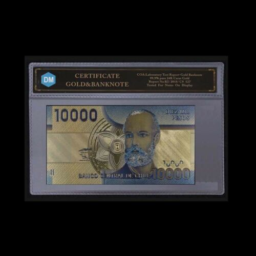 World Gold Banknote Chile 10000 Dollar Currency Paper Money Bill for Collection