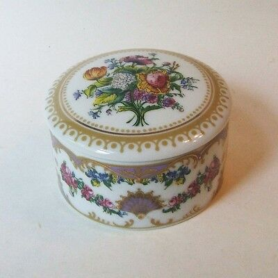 Andrea by Sadek Collection Sevres Porcelain Round Trinket Ring Box 3.25 Inch