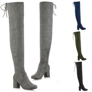 Womens-Thigh-High-Boots-Ladies-Over-The-Knee-Lace-Up-Long-Low-Mid-Heel-Shoes-3-8