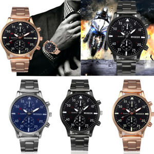 Mode-Casual-Herren-Luxus-Kristall-Edelstahl-Uhr-Analoge-Quarz-Round-Armbanduhr