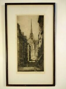 """Andrew Affleck Etching """"Notre Dame ..."""" Signed & Framed Early 1900's"""