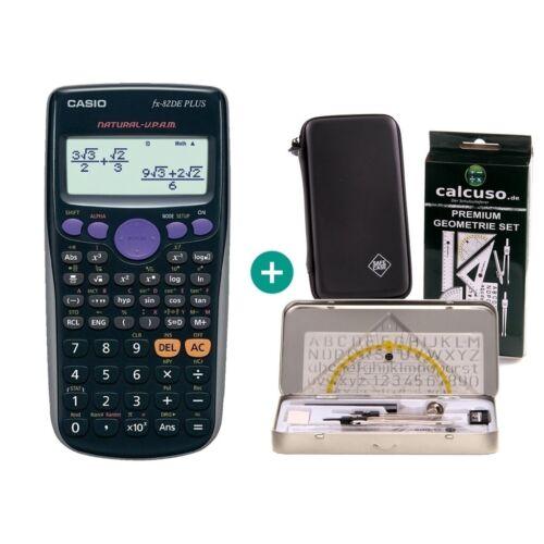 Casio FX 82 DE Plus Taschenrechner Schutztasche und GeometrieSet