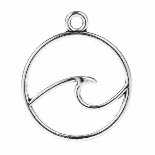 250Pcs Tibetan Silver Ocean Wave Charms Pendant Crafts Jewelry Necklace 23*20mm