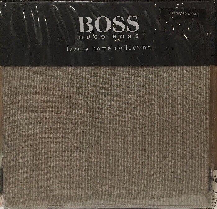 Hugo Boss Luxury Home Collection Stitched Geo standard sham Stone - New
