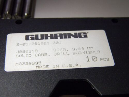 Guhring J080319 Solid Carbide Coolant Drill Burnishers Qty 10 2-05-291023-001