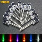 120pcs 5mm White Red Blue Green Yellow Purple LED Emitting Diode Light Lamp Kit