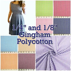 Poly-Cotton-Gingham-Check-1-4-034-or-1-8-034-Back-to-School-Uniform-Dress-Fabric