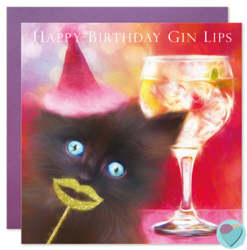 Black Cat Birthday Card Friend /'HAPPY BIRTHDAY GIN LIPS/' Gin and Tonic lover