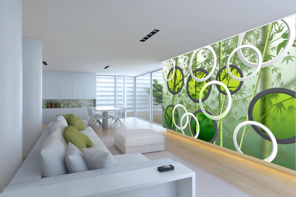 3D Bamboos Circles 75 Wall Paper Murals Wall Print Wall Wallpaper Mural AU Carly