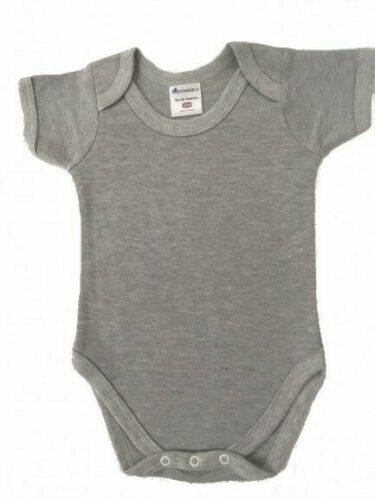 Grey Short sleeve baby body suit British Made 0-3 Months