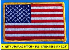 USA AMERICAN FLAG EMBROIDERED PATCH IRON-ON SEW-ON GOLD BORDER (3½ x 2¼?)