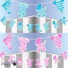 Baby Shower Laundry Line Bunting Garland Partyware Party Banner Decorations 2.5m
