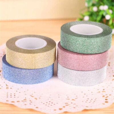 5 Colors 5m Craft Glitter Washi Tape Book Decor DIY Adhesive Glue Paper Sticker