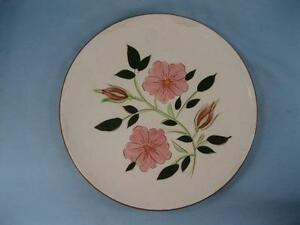 Wild-Rose-Salad-Plate-Stangl-Pottery-Pink-Flowers-Green-Leaves-Vintage-O-AS-IS