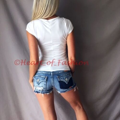 Women/'s Ivory Deep Plunge Low Cut Corset Lace Up Caged Stretch Short Sleeve Top