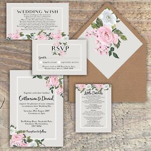 Details About Personalised Luxury Rustic Wedding Invitations Pink Grey Floral Packs Of 10