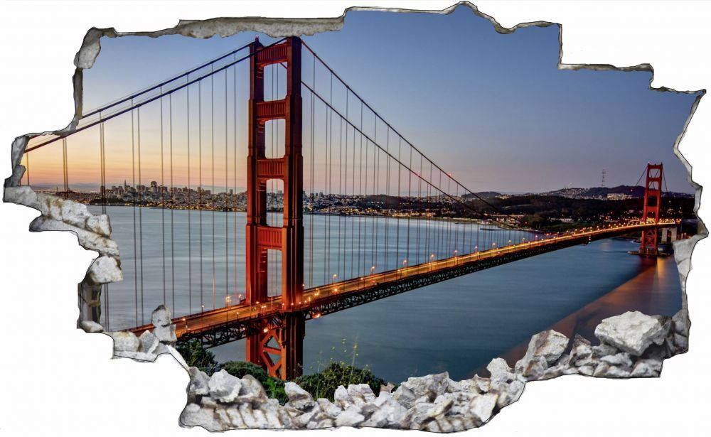 Golden Gate Bridge San Francisco Stadt Wandtattoo Wandsticker Wandaufkleber C000